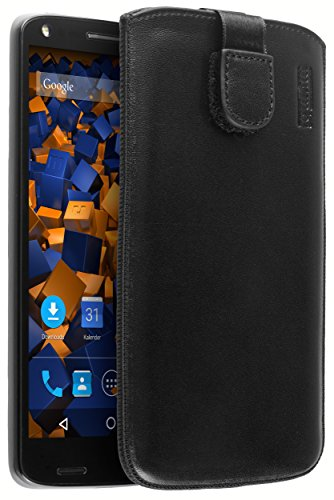 mumbi Echt Ledertasche kompatibel mit Motorola Moto X Force Hülle Leder Tasche Case Wallet, schwarz