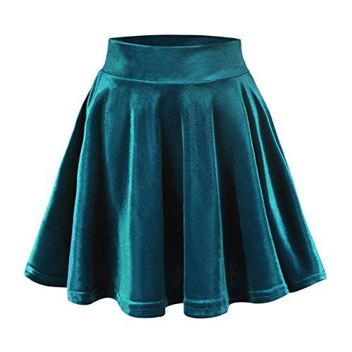 Urban CoCo Women's Vintage Velvet Stretchy Mini Flared Skater Skirt (L, Dark Blue)