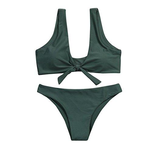 LuckyGirls Damen Bikini Set Vordere Verknotet Push Up Zweiteiliger Bikinis Einfarbig Elegant Badeanzug Strand Bademode (Armee Grün, L)