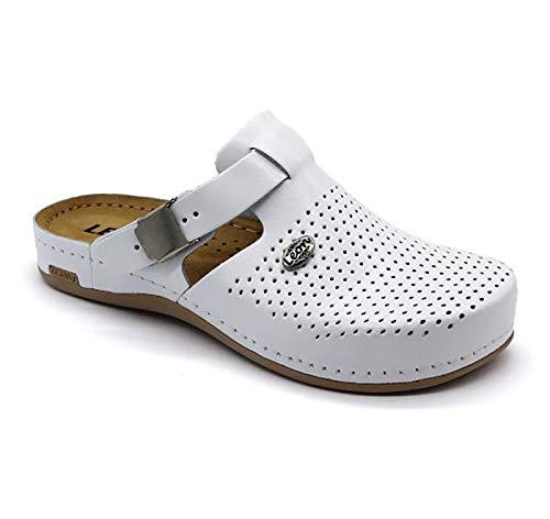 LEON 950 Zuecos Zapatos Zapatillas de Cuero para Mujer, Blanco, EU 40