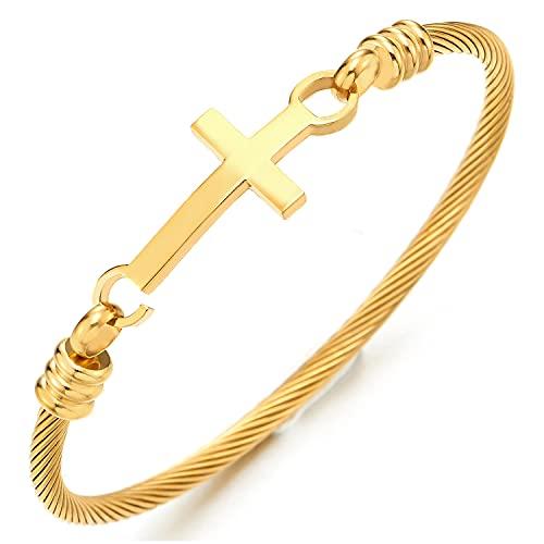 COOLSTEELANDBEYOND Horizontal Lateral Cruz Cable Trenzado Pulsera de Mujer, Brazalete de Acero Inoxidable, Color Oro