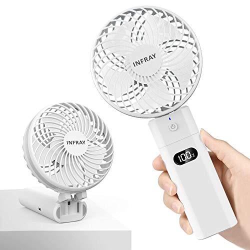 infray Handventilator mit Powerbank 5200mAh, Ventilator klein Handventilator mit Anzeigeschirm, USB Ventilator Mini tragbarer Tischventilator mit akku, 5 Stufen, 5-20 Std. Arbeitszeit (Weiß)
