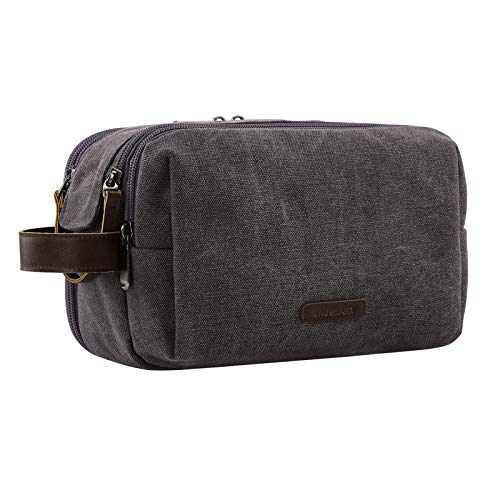 Toiletry Bag for Men, BAGSMART Travel Shaving Dopp Kit Water-resistant Toiletry Organizer for Travel Accessories, Grey