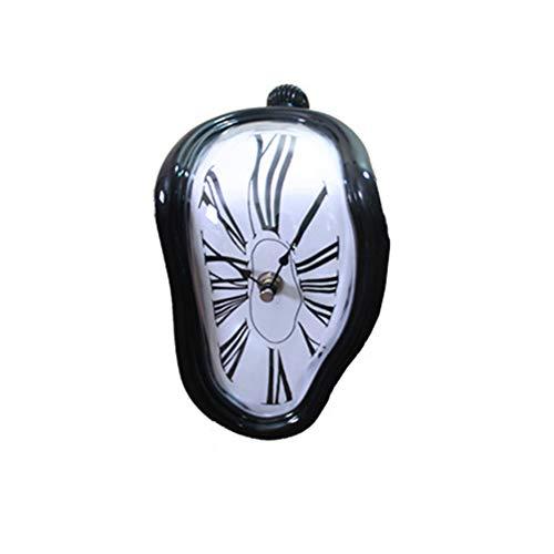 1PC Dekorative Dali Uhr Melting Clock Surrealistische Tisch Regal Schreibtisch Uhr Funny Home Office Schreibtische Uhr bestes Geburtstagsgeschenkidee für Männer und Frauen (Schwarz)