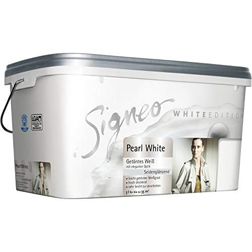 Signeo White Edition, Wandfarbe 5 L. PEARL WHITE, Weiß, seidenglänzend, getöntes Weiß, Innenfarbe