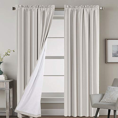 H.VERSAILTEX 100% Blackout Curtains for Bedroom Window Treatment Curtain Thermal Insulated Curtains for Living Room Rod Pocket Drapes White Backing, 2 Panels with 2 Tie-Backs, 52 x 84 Inch, Natural
