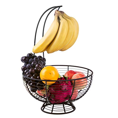 Fruit Basket Bowl with Banana Tree Hanger Vegetables Storage Snacks holder