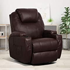 【5 Relaxing Function】Relax in this wonderful recliner chair with vibrating, reclining, heating, 360° swivel, rocking features. Massage way is vibration. 【Thick Padded, Double Comfort】Soft and sturdy faux leather design suitable for intensive use, pad...