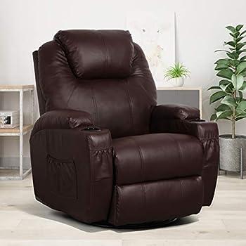 Esright Massage Recliner Chair Heated Composite Materials Ergonomic Lounge Chair 360 Degree Swivel Brown
