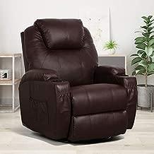 Esright Massage Recliner Chair Heated PU Leather Ergonomic Lounge Chair 360 Degree Swivel, Brown