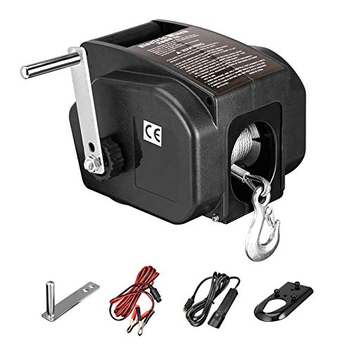 U-MAX Trailer Winch, 12V DC Reversible Electric Winch, for Boats up to 5000 lbs Portable Winch Boat Truck Power-in, Power-Out(Corded Remote Control & Hand Crank)