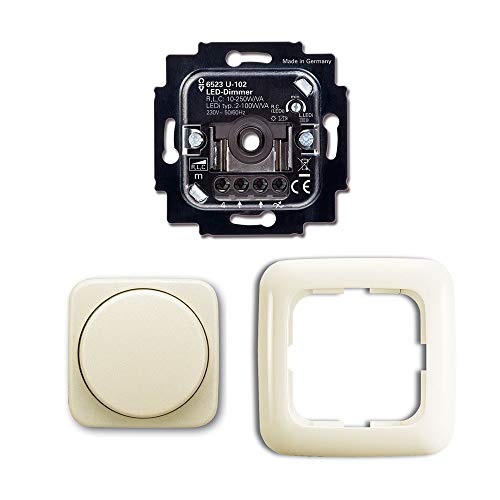 Komplett-Set BUSCH-JÄGER, LED-Drehdimmer -cremeweiß- -DURO 2000- neues Modell 6523 U-102 - Nachfolger zu 6523U