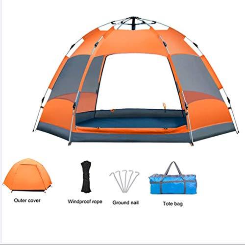 Strnry 3-4 Personen Camping Zelt Automatisches Aufklappen Wasserdichtes Zelt Sonnenschutz Einfach Aufstellen Doppelschicht Ferienzelt Für Picknick, Wandern,Outdoor,Package one orange