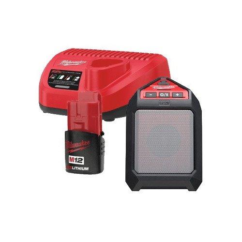 Milwaukee 2592-21 M12 12-Volt Lithium-Ion Cordless Bluetooth Wireless Jobsite Speaker Kit (1) 1.5Ah Battery, Charger