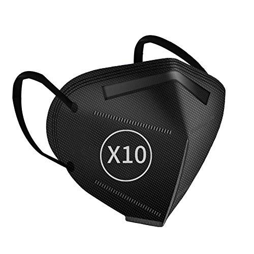 10 Stück FFP2 Maske Schwarz, Gesichtsmaske CE2163 Zertifiziert Staubschutzmaske für Erwachsene Mund-und Nasenschutz