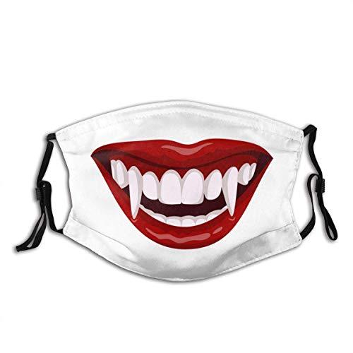 Máscara facial de labios rojos de vampiro a la moda, a prueba de polvo, transpirable, reutilizable bufanda ajustable de protección, vampiro, boca abierta, icono de horror dientes símbolo