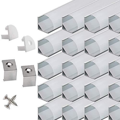 LED Aluminium Eckprofil 45 grad - 40x100cm LED Aluminium Profil für LED-Streifen/Leisten mit Weiß Milchige Abdeckung,Endkappen,und Montageklammer …