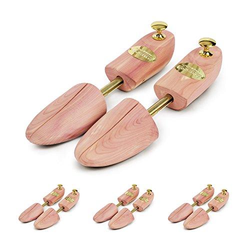 Schlesinger - 4 Paar Premium Schuhspanner aus edlem Zedernholz für Damenschuhe und Sneaker. Modell Königin. Größe 40/41. Gold Knauf.