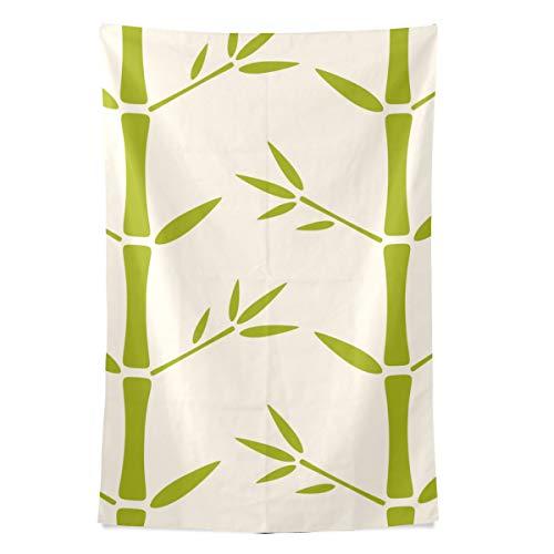 Bambus Green Leaf Pflanze Wandteppich Wandbehang Cool Post Print für Wohnheim Home Wohnzimmer Schlafzimmer Tagesdecke Picknick Bettlaken 80 X 60 Zoll