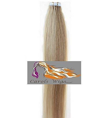 Carolswigs® Meilleure Qualité 20'' Fraise Mélange Blond Blonde les Plus Légeres 27/613 à Coller avec Bande Adhésive 100% Premier Extensions de Cheveux