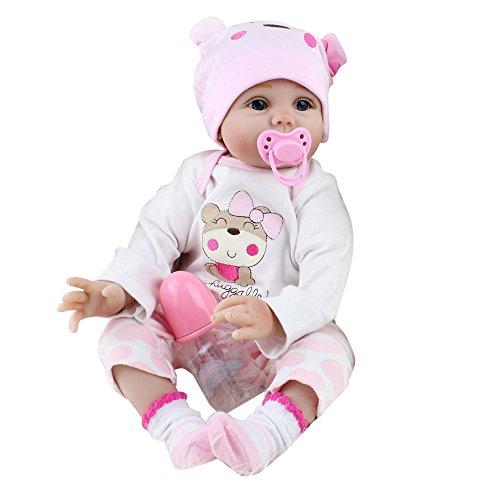 LUCKDE Babypuppe, Puppe Lebensechte Babypuppen Reborn Babys Mädchen Weiche Babypuppe, Pinkem Strampler und mütze, 55 cm (55cm, New pink)