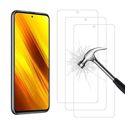 AHABIPERS 3 Stück Panzerglas für Xiaomi Poco X3 NFC/Xiaomi Redmi Note 9 Pro/Redmi Note 9S Panzerglas, HD/Anti-Kratzer Panzerglasfolie für Xiaomi Poco X3 NFC/Xiaomi Redmi Note 9 Pro/Redmi Note 9S