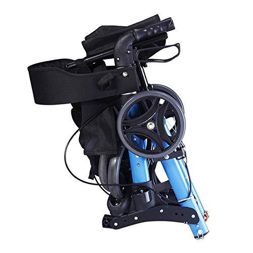 4 ruedas andadores médicos, camiones pesados con asiento plegable Drive Medical Andador Walker, sistema de frenos dual, utilizado para las personas mayores de senderismo, Azul,azul