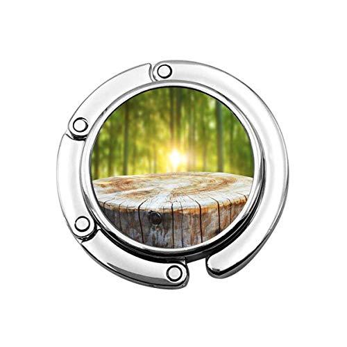 Niedlicher Faltbarer Geldbeutel-Aufhänger für Tisch, Geldbeutel-Haken-grünes Produkt leerer Baumstamm-Anzeige-Montagen Natur