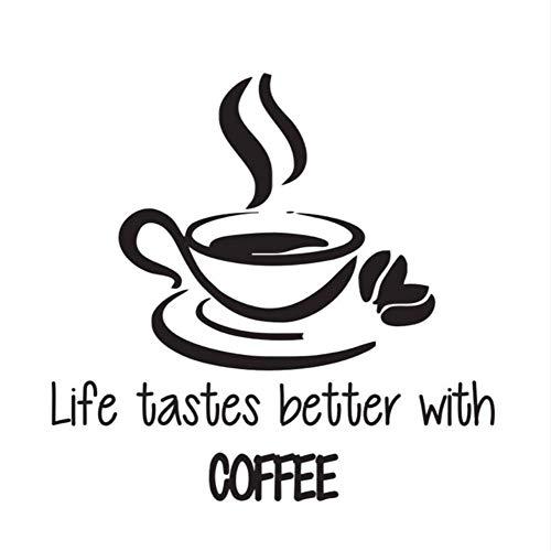 Lglays Life Tastes Better with Coffee Wall Stickers Citas A Cup of Coffee Calcomanías de vinilo adhesivo para cocina 44 x 46 cm