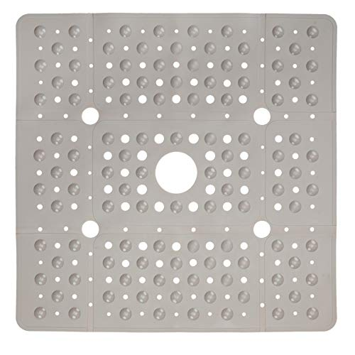 SlipX Solutions Extra Large Square Shower Mat, 27 x 27 Inches, Provides More Coverage & Non-Slip Traction (100 Suction Cups, Great Drainage, Tan)
