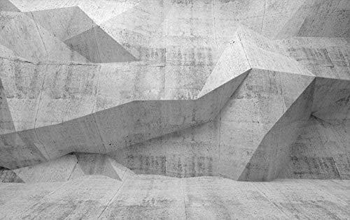 FVeng LIN Carpet Wandbild 3D Wallpaper Geometric Grey Cement Wall Wallpaper Wohnzimmer Schlafzimmer TV Hintergrund Wanddekoration Kunst-350cmx256cm