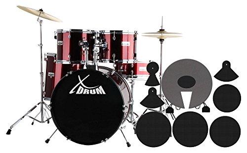 XDrum semi batteria completa con Set di Piatti e sordine - Rosso Lipstick