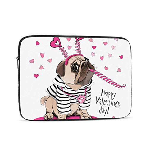 Laptop Sleeve Case 12 Inch Card Valentines Day Pug Dog Striped Laptop Sleeve/notebook Computer Pocket Case/tablet Briefcase Carrying Bag