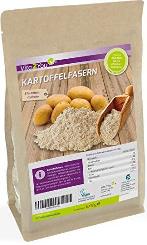 Kartoffelfasern 1000g - Nur 8{0e812a000d30cd6a2917751e503a3187c58ee64fb95654d28f4fa3876023544f} Kohlenhydrate - Glutenfrei - Zippbeutel - Premium Qualität