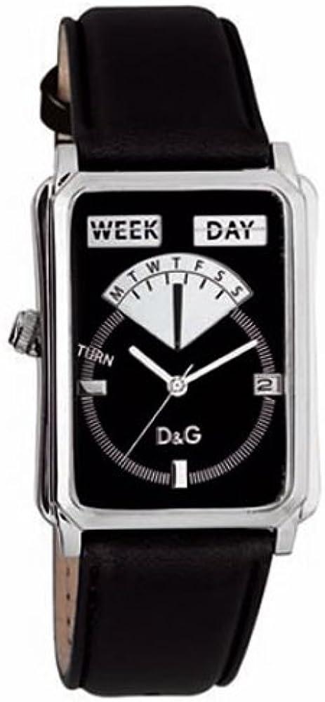 Dolce & gabbana sea quest, orologio da donna, cassa in acciaio, cinturino in pelle nera DW0122