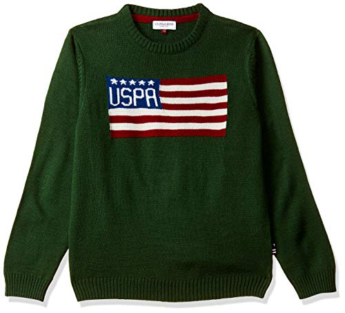 US Polo Association Boy's Synthetic Sweater (UKSW5309_Hunter Green_13-14 Years)
