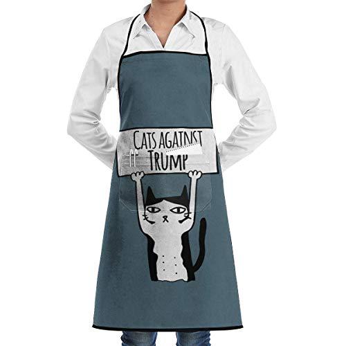 NA Protest Katzen Katzen gegen Trump Unisex Chef Koch Küche Schürze Langlebige Mode Schürzen Lätzchen mit Tasche für Restaurant Cafe Home Grill Grill Backen Garten Basteln Malen