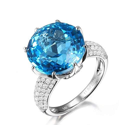 AnazoZ Anillos Boda Mujer Plata Azul Anillos de Mujer Oro Blanco 18K Anillo Redondo Topacio Azul 12.5ct Diamante 0.88ct Talla 17