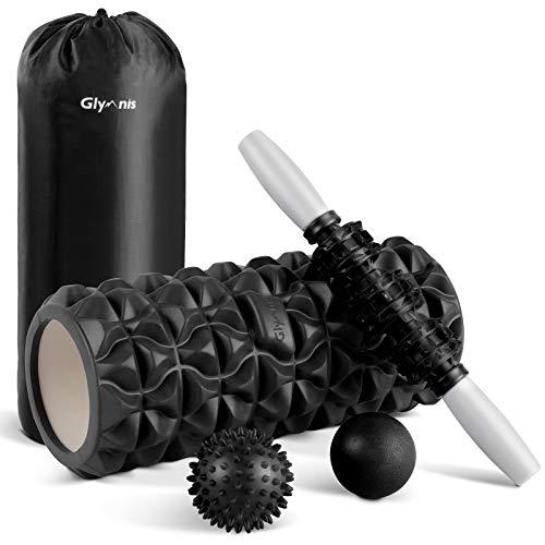 Glymnis Foam Roller Kit 4 in 1 - Rullo in Schiuma Rullo Massaggio Muscolare Pallina Massaggiante Bastone Massaggio per Stretching Yoga Pilates Fisioterapia Rilascio Miofasciale Massaggio (Nero)