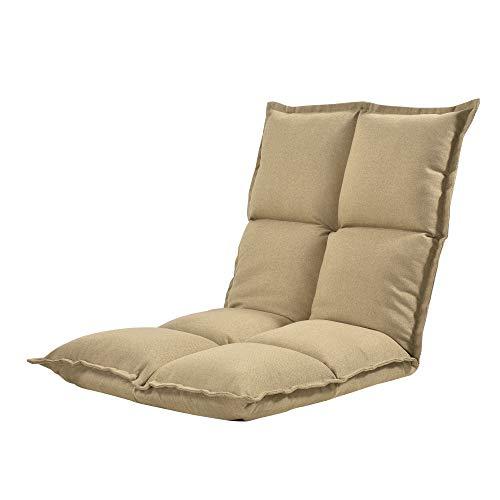 [en.casa] Bodenstuhl Klappbar Bodensessel 5-stufig Verstellbare Klappliege Relaxliege Faules Sofa 5 Positionen Bodenliege Sitzkissen Sandfarben