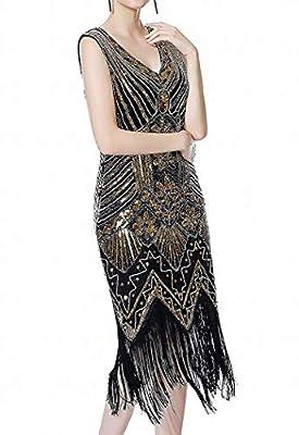 gastbypty Womens Long Prom 1920's Vintage Gatsby Bead Sequin Art Nouveau Deco Flapper Dress