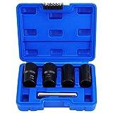 LYAID 5Pcs Twist Socket Set Extractor de Tuercas de Tuercas, Extractor de Tuercas, Juego de Herramientas de extracción de Tuercas de Rueda de Bloqueo, 17mm 19mm 21mm 22mm Enchufe