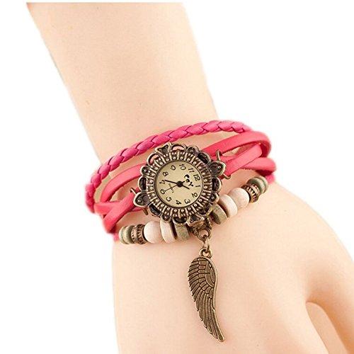 Da.Wa Reloj de Pulsera Brazalete Cuero Trenzado Retro con Pequeña ala Mujer