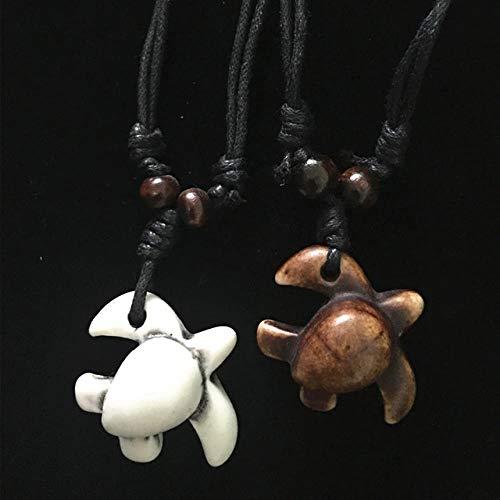 ATHQ Büffel-Nette Schildkröte-Surfer-Schildkröte-Schnur-Halsketten-Amulett-Geschenk-Schmucksachen Der Männer Frauen, O, Weiß