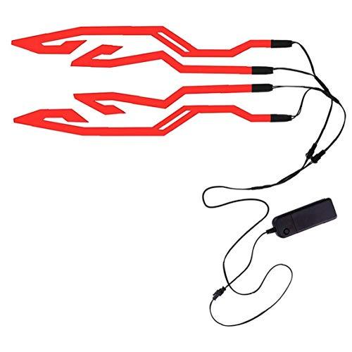 lujiaoshout Helm-Licht-Streifen, Motorrad Cold Light Aufkleber Signal Flashing Streifen reflektierendes Motorrad Zubehör Rot