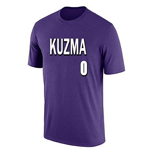 W&F Camiseta de algodón con Cuello Redondo para Hombre Kyle Kuzma # 0 Mangas Cortas Sueltas Top Deportivo de Verano S-XXXL (Color : Purple, Size : Medium)