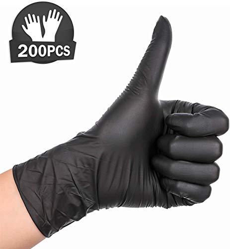 200 STK Handschuhe Einweghandschuhe Nitril Handschuhe L Pulver Freie (Schwarz)