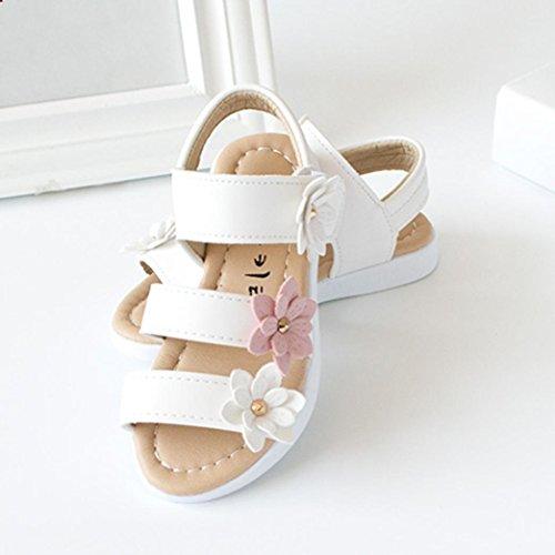 Kinder Sandalen mit Blumen, Lauflernschuhe (25, Weiß) - 5