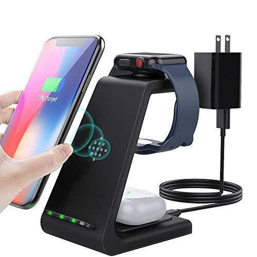 MoKo 3 en 1 Soporte de Cargador Inalámbrico, Qi Estación de Carga Rápida Compatible con Apple Watch Series SE/6/5/4/3/2/iPhone 12/12 Pro Max/12 Mini/11/XR/SE 2020/XS/8/Airpods Pro/2