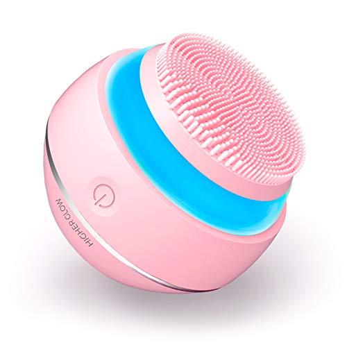 HIGHER GLOW - Silikon Gesichtsreinigungsbürste mit 3D-Schallvibration und intelligenter Tastensteuerung - Lichttherapie - Anti-Aging Massage - Integrierter Langzeit Akku - Wasserdicht